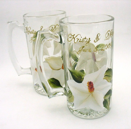 Hand Painted Head Wedding Table Glass Set