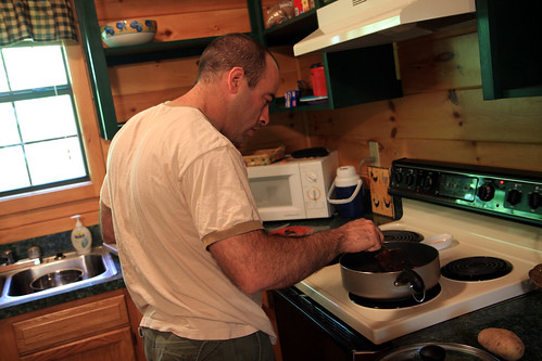 Hubby making breakfast