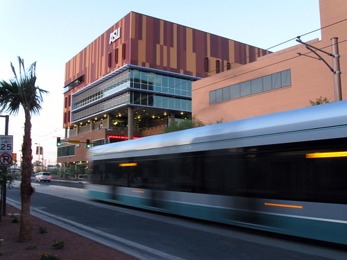 Light Rail passing ASU Downtown
