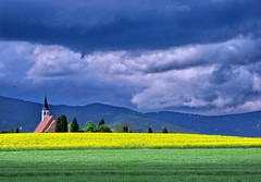 again - peterskircherl (2) (klaus53) Tags: church colors yellow clouds spring wolken raps loweraustria ternitz aplusphoto flickrlovers vanagram paololivornosfriends mmmilikeit peterskircherl travelsofhomerodyssey aboveandbeyondlevel1