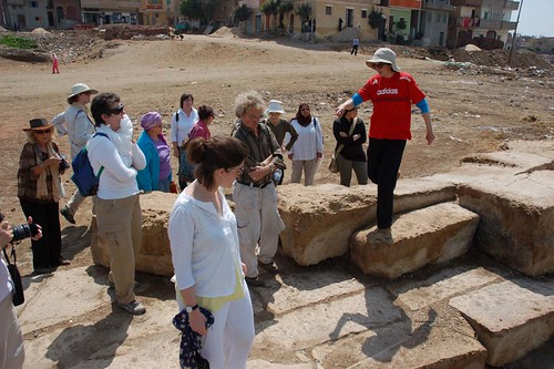 Penny Wilson and EES members among the temple ruins at Sais