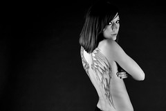Time to Undress (Dlicate&Saine) Tags: girl tattoo wings noiretblanc nb laurie ailes