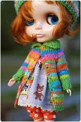 happy colours again^^ (megipupu) Tags: sweater dress handmade knit blythe cardigan bloomers rbl megipupu primadollyaubrie