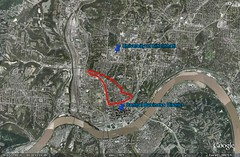 OTR is centrally located (image by Google Earth; markings by me)