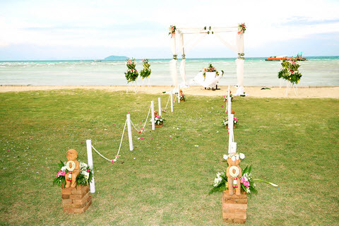 Beach Wedding Ceremony Path Over Lawn