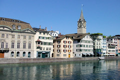 Zurich Lakeside (cwgoodroe) Tags: blue roses summer church water fountain switzerland ancient europe arch swiss zurich gothic sunny german column archway waterway doric carvedstone christion suiess