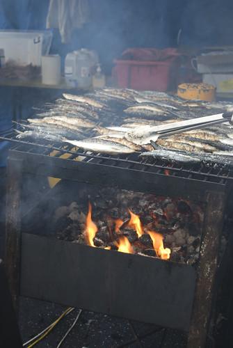 Sardines on carcoal