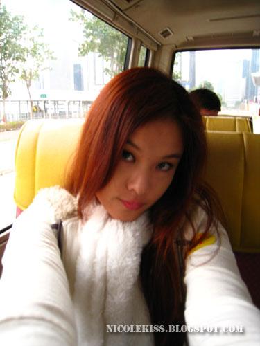 posing on bus