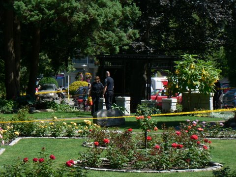 Police on the scene at the Rose Garden in Queens Park on Canada Day. Photo: Briana Tomkinson