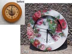 Wall clock with roses
