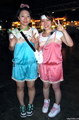 Cute Summer Sonic Girls (tokyofashion) Tags: pink blue girls music smile fashion japan japanese tokyo clothing concert shiny style sneakers bow shorts matching peacesign 2009 pajamas pajama camisole summersonic