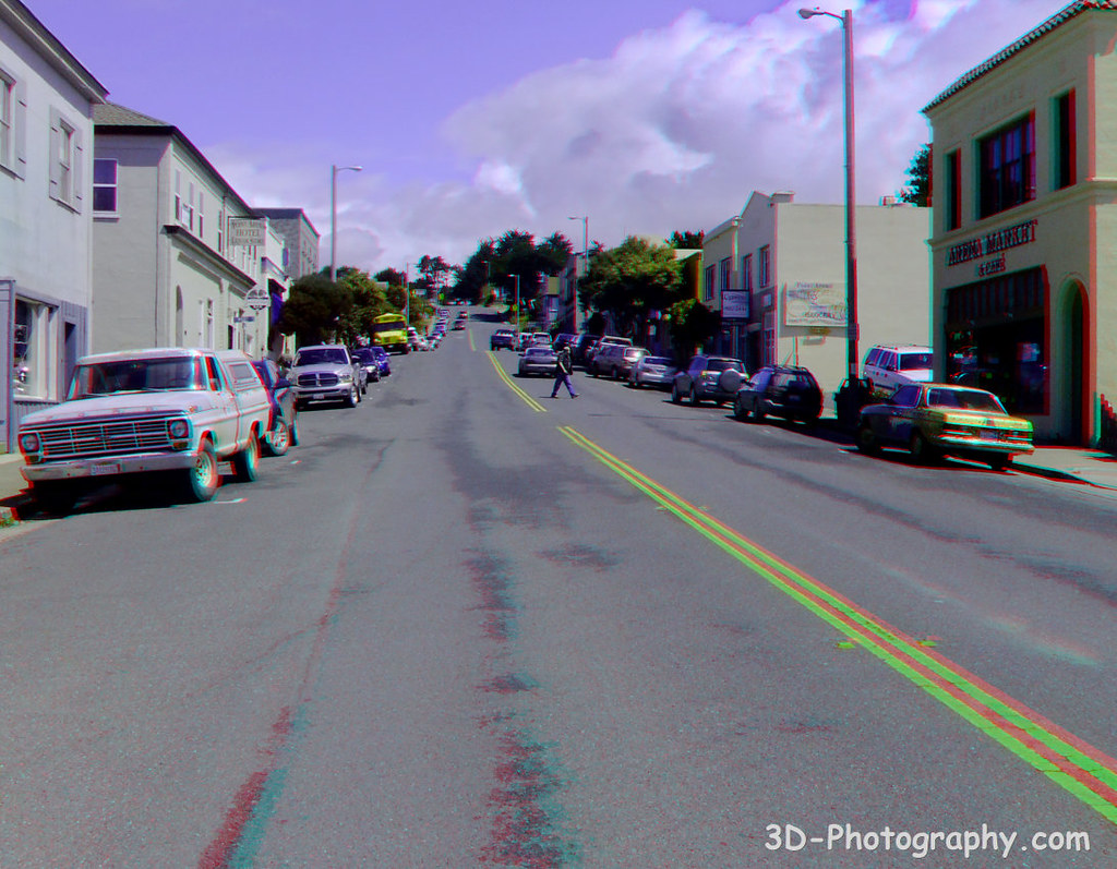 Pacific Coast Highway (Main Street) in Downtown Point Arena - W1 - 3D Anaglyph