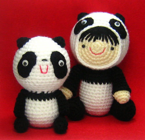 Girl in a Panda Suit and Her Friend Crochet Pattern
