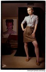 Katie (Jamie M. / jcm-photo.com) Tags: portrait fashion poster katie experiment 100views backdrop 200views thriftstore davidbowie