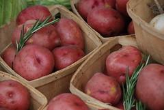 potatoes and rosemary at the market