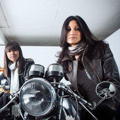 Biker Mamas Aren't What They Used To Be... (dzgnboy) Tags: toronto patti lakeshore bathurst jaqui tvshoot dzgnboy caferacers img6907edit noelsgarage