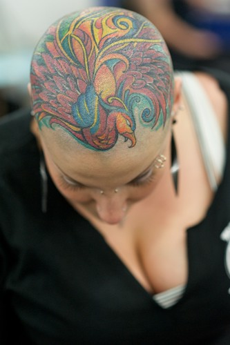 Full Head Tattoo of Peacock on Girl