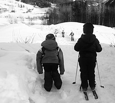 MT and friend skiing contest b/w