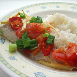 Spicy Steamed Fish Fillets with Tomatoes