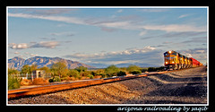 Arizona Railroading (Saqib Karori - TucsonRailfan) Tags: railroad blue arizona sky mountains desert tucson engine loco karori unionpacific locomotive freight saqib sunsetroute