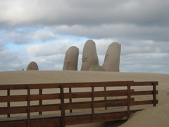 Sand Hand and Bridge (jillmazur) Tags: bridge beach canon uruguay hand powershot sandhand flickrcolour fingerssouthamericauruguayargentina