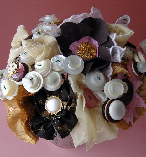 Custom Wedding: Textile Infused Button Bouquet