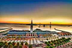 Morning over the Port of San Francisco [Explored] (big_pixel_pusher) Tags: sanfrancisco tower port sunrise bay baybridge embarcadero ferrybuilding hdr portofsanfrancisco topaz oaklandbaybridge abigfave topazadjust bppfoto