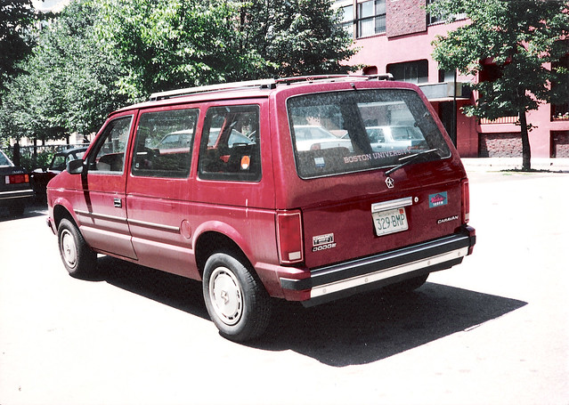 auto car boston automobile maroon 1993 dodge caravan van minivan