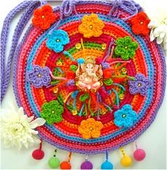 Lord Ganesha, bolsa de croch (Lidia Luz) Tags: bag beads ganesha handmade crochet felt purse afghan ganesh feltro bolsa mala croch lidialuz