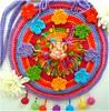 Lord Ganesha, bolsa de crochê (Lidia Luz) Tags: bag beads ganesha handmade crochet felt purse afghan ganesh feltro bolsa mala crochê lidialuz