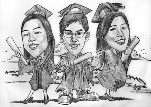 Graduates caricature in pencil