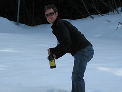 Burying Champagne in the snow