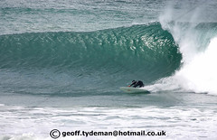 Russell Mullins at Fistral Beach Newquay Cornwall UK. (Geoff Tydeman) Tags: ocean blue sea white green beach wet water sport turn standing