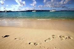 Footprints in the sand: the visible effects of rum (photocillin) Tags: blue sea white beach breakfast bay yum joke footprints tropical drunken caribbean rum yachts hic jostvandyke bvi whitebay pfo photocillin