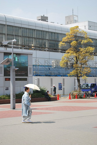 Con kimono en el Minato Mirai 21