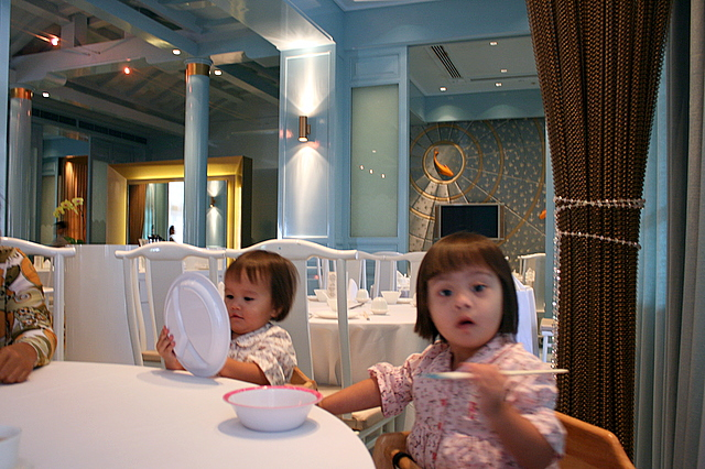 Jolie and Nadine at Royal China - cool baby blue interior