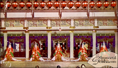 Miyako Odori Stage Scene (Naomi no Kimono Asobi) Tags: japan vintage japanese photo kyoto antique postcard maiko geiko photograph geisha kimono obi gion meiji odori taisho shime vintagephotograph rppc miyakoodori tsuzumi
