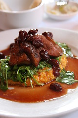 Anthony David - crispy duck, pumpkin polenta, cherries