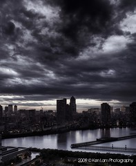 Typhoon passing over Tokyo... (Ken.Lam) Tags: park sunset tower st japan clouds buildings reflections river dark tokyo office cool dusk   lukes raining sumida tsukishima axis typhoon shiodome dentsu  toyosu      yaseu rejoct2010