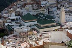 Green Mausoleum (MykReeve) Tags: roof building buildings tile minaret mosque morocco mausoleum tiles tiling moulayidriss geo:lat=34055433 المملكةالمغربية المغرب مولايإدريس geo:lon=5520802