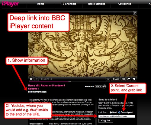 Deep link into iPlayer content