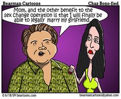6 18 09 Bearman Cartoon Chastity Bono copy (Bearman2007) Tags: humor cartoon marriage cher bearman sexchange chaz politicalcartoon editorialcartoon genderreassignment chastitybono bearmancartoons