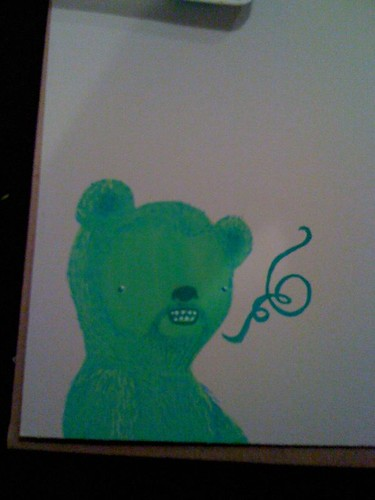Bad phone picture of my green bear