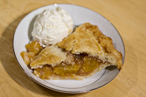 Honey Caramel Peach Pie with sour cream ice cream