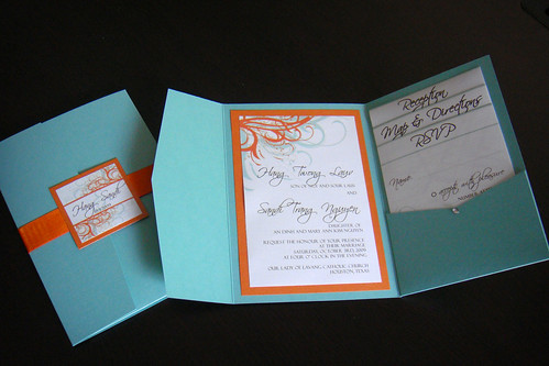 Wedding Invitations Aqua Blue Orange Flickr Photo Sharing