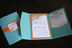 Wedding Invitations (Blue + Orange) (Jonathan Vo) Tags: blue wedding orange green floral modern cards design diy vineyard purple graphic map contemporary teal traditional plum marriage vine sage reception card seal directions ribbon custom invite doityourself invitations weddinginvitations accomodations rsvp reply weddinginvitation pocketfold pocketfoldweddinginvitation