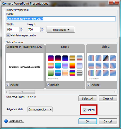 Dynamically linked PowerPoint files in Captivate