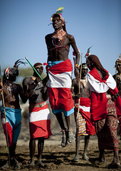 Samburu jumping during a dancing session - Kenya (Eric Lafforgue) Tags: africa beads kenya culture tribal tribes bead afrika tradition tribe ethnic kenia tribo headdress afrique headwear ethnology headgear tribu eastafrica beadednecklace coiffe qunia lafforgue ethnie 5426  qunia    beadsnecklace kea    a