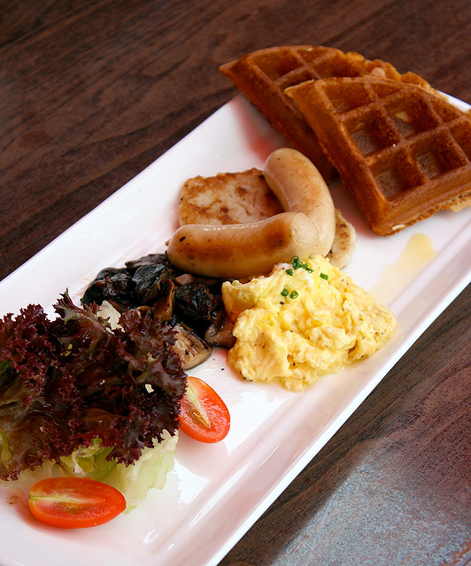 Club Islander Brunch Platter - waffles, scrambled egg, chicken sausages, mushroom and chicken patty