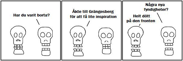Har du varit borta?; Åkte till Grängesberg för att få lite inspiration; Några nya fyndigheter?; Helt dött på den fronten